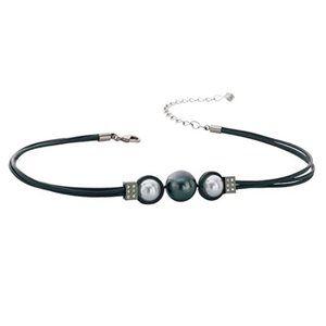 Misaki Pearl Black Cord Necklace Juliette Choker